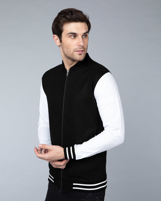 Shop Jet Black Varsity Bomber Jacket-Back