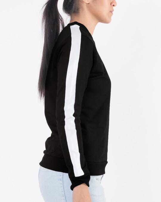 Shop Jet Black-White Fleece Sweater-Back