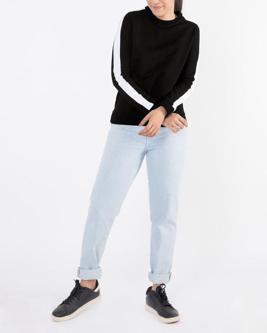 Shop Jet Black-White Fleece Sweater-Full