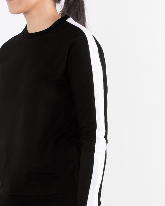 Shop Jet Black-White Fleece Sweater