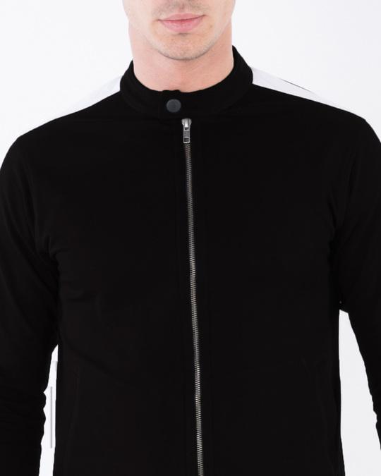 Shop Jet Black-White Contrast Panelled Jacket