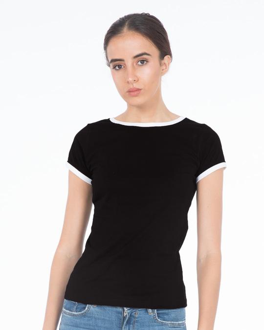 Black white ringer t shirt plain womens t shirts best for Plain white tee shirt womens