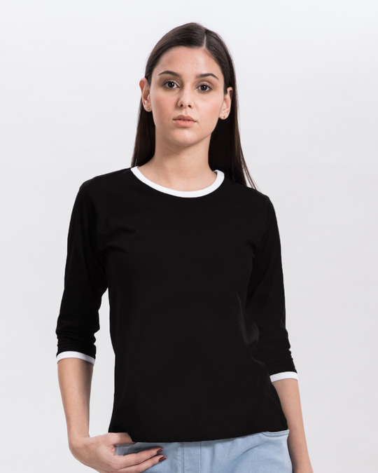 Shop Jet Black-White 3/4th Sleeve Ringer T-Shirt-Front