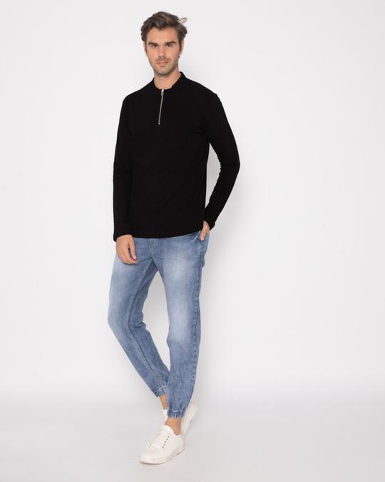 Shop Jet Black Zip Henley Full Sleeve Pique T-Shirt