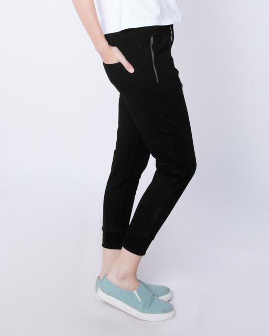 Shop Jet Black Zipper Fleece Joggers-Back