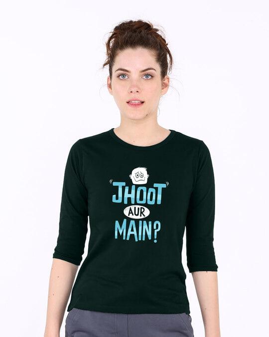 Shop Jhoot Aur Main Round Neck 3/4th Sleeve T-Shirt-Front