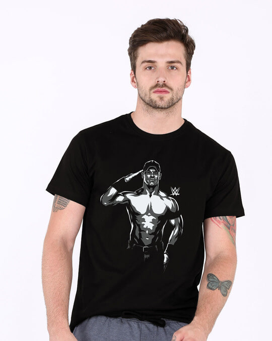 Shop John Cena Illustration Half Sleeve T-Shirt (WWEL)-Back