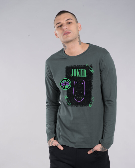 Shop Joker Cloth Clip Full Sleeve T-Shirt (BML)-Front