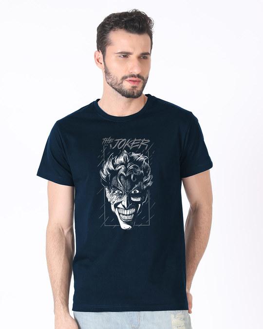 Shop Joker Stare Glow In Dark Half Sleeve T-Shirt (BML) -Back