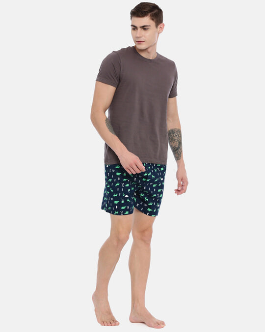 Shop Joven   Camp Animals Navy Printed Boxers-Full