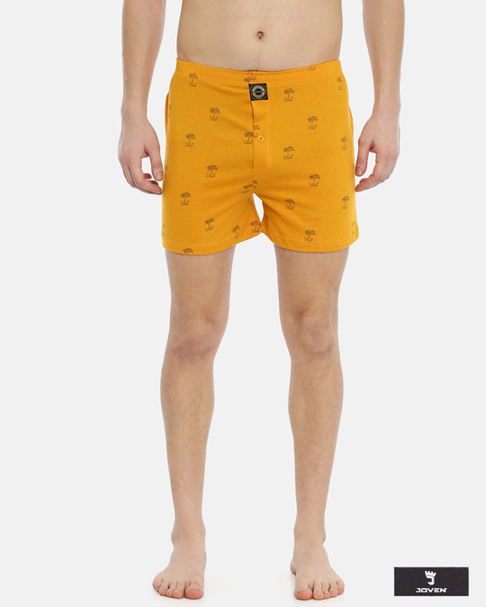 Shop Joven | Desert Oasis Yellow Knitted Boxers-Front