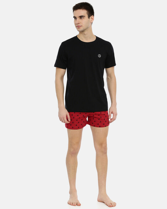 Shop Joven | Shark Fin Red Knitted Boxers-Full