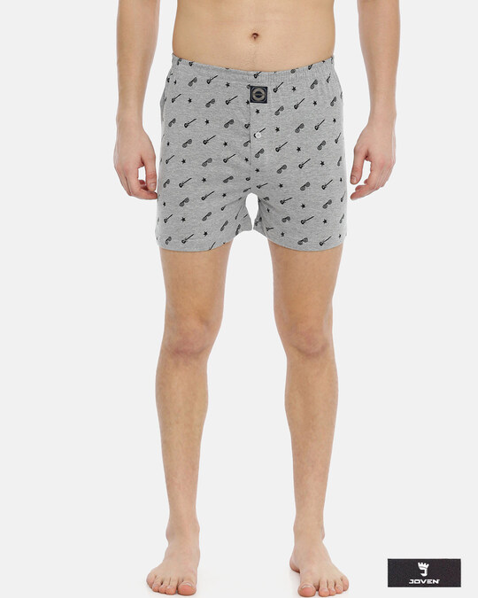 Shop Joven   Wannabe Rockstar Grey Knitted Boxers-Front
