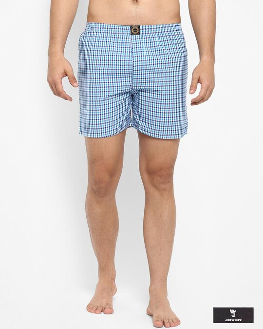 Shop Joven | White and Blue Checked Boxers-Front