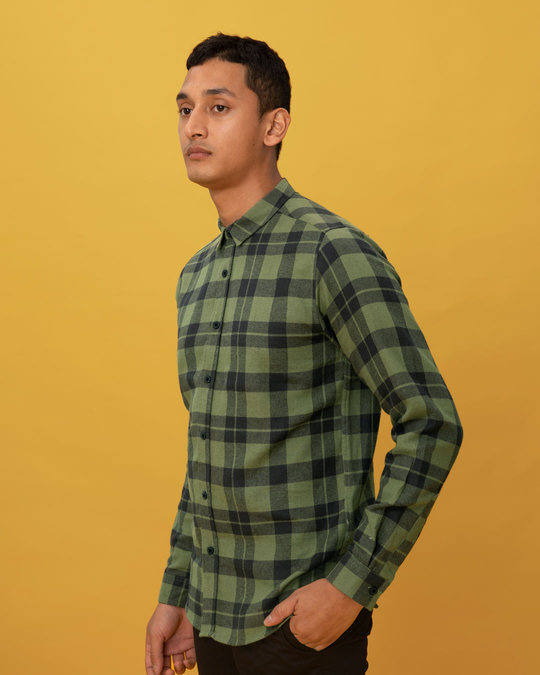 Shop Juniper Green Checked Shirt-Back