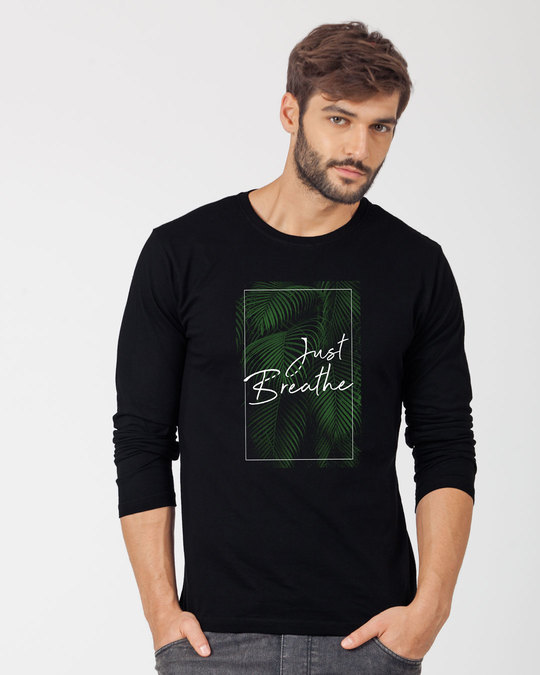 Shop Just Breathe Full Sleeve T-Shirt-Front