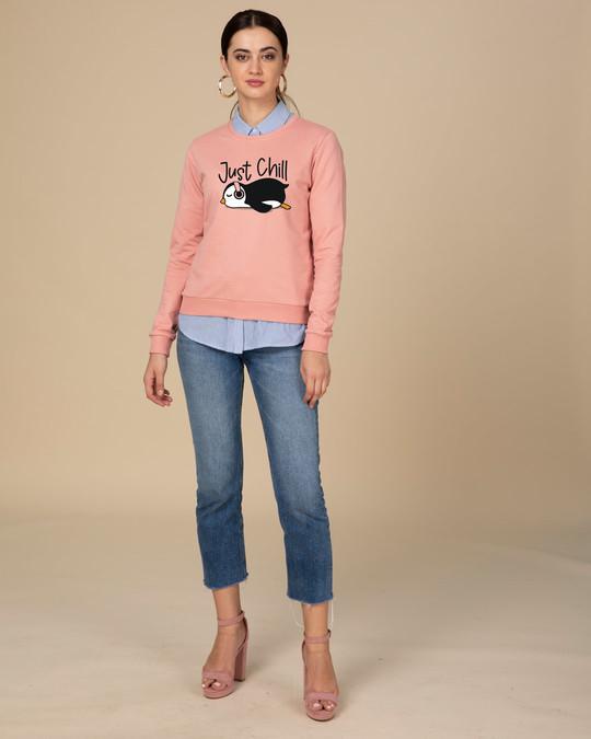 Shop Just Chill-penguin Fleece Light Sweatshirt-Design