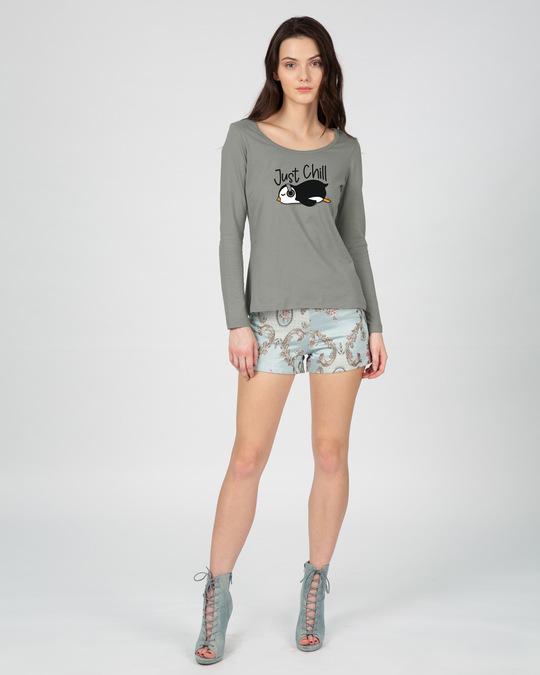 Shop Just Chill-penguin Scoop Neck Full Sleeve T-Shirt-Design