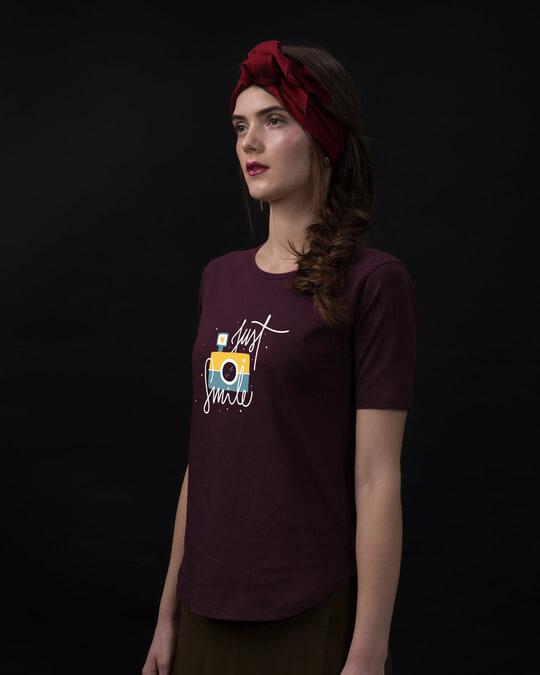 Shop Just Smile Basic Round Hem T-Shirt-Back