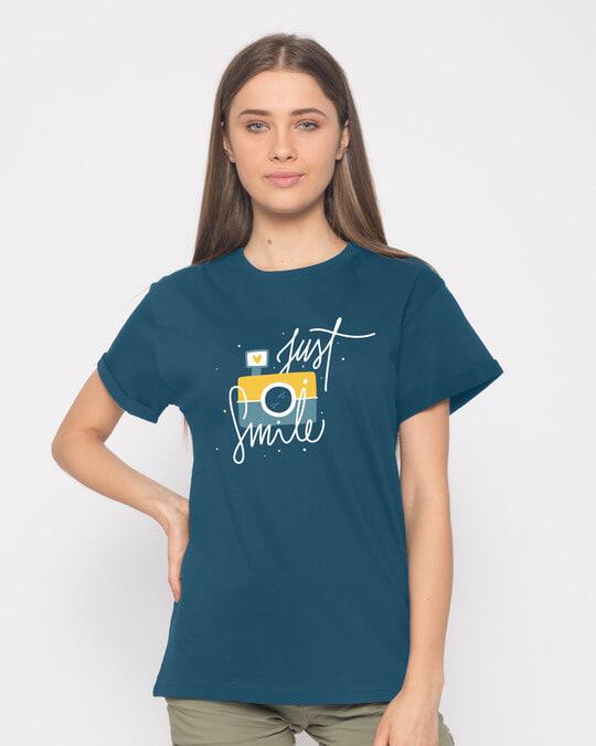 Shop Just Smile Boyfriend T-Shirt-Front