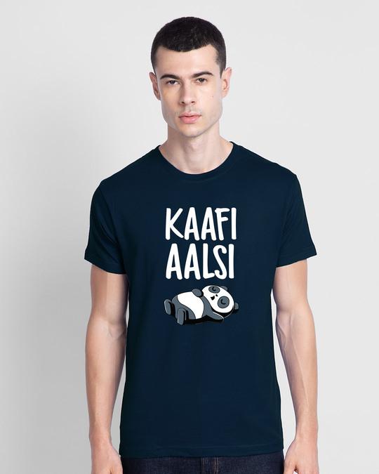 Shop Kaafi Aalsi Half Sleeve T-Shirt Navy Blue-Front