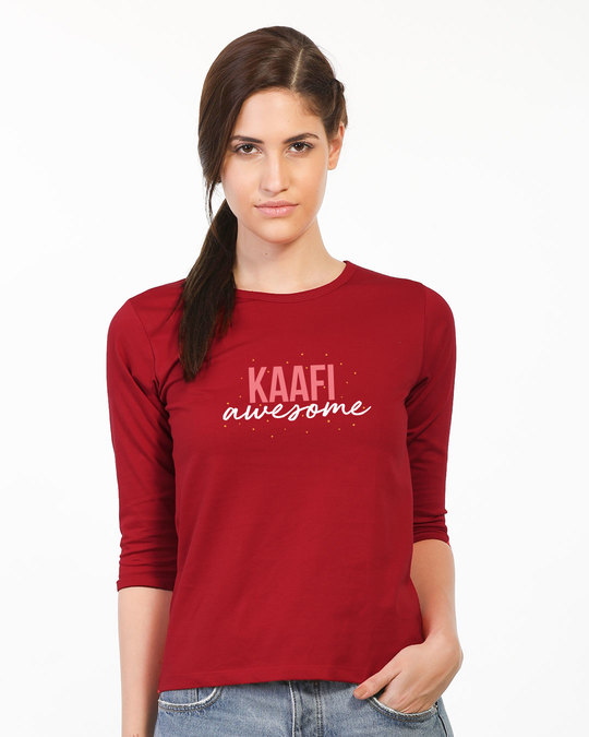Shop Kaafi Awesome Round Neck 3/4th Sleeve T-Shirt-Front