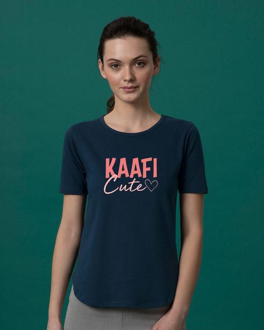 Shop Kaafi Cute Basic Round Hem T-Shirt-Front