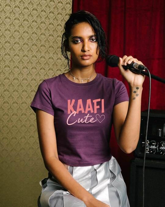 Shop Kaafi Cute Round Neck Crop Top T-Shirt-Front