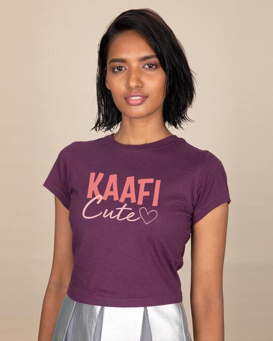 Shop Kaafi Cute Round Neck Crop Top T-Shirt-Back