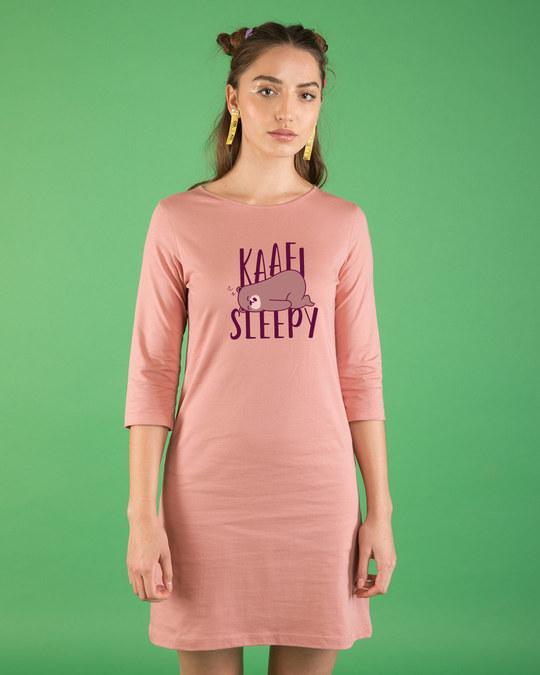 Shop Kaafi Sleepy Boat Neck 3/4th Sleeve T-Shirt Dress-Front