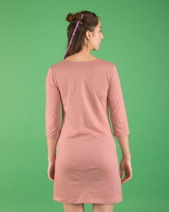 Shop Kaafi Sleepy Boat Neck 3/4th Sleeve T-Shirt Dress-Back