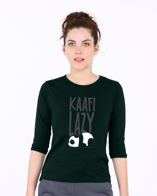 Shop Kafi Lazy Round Neck 3/4th Sleeve T-Shirt-Front