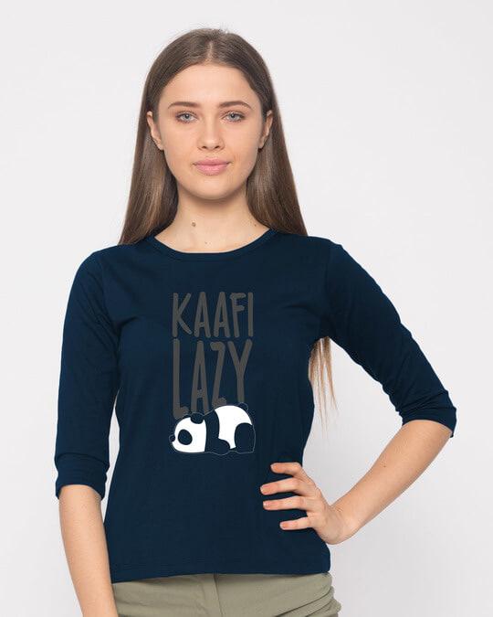 Shop Kafi Lazy Round Neck 3/4th Sleeve T-Shirt-Front