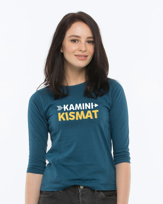 Shop Kamini Kismat Round Neck 3/4th Sleeve T-Shirt-Front