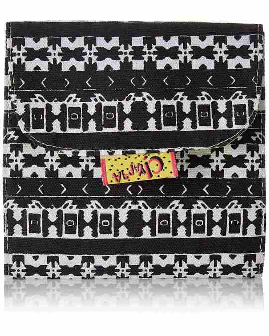 Shop Trifold Sanitary Napkin Printed Canvas Pouch-Front