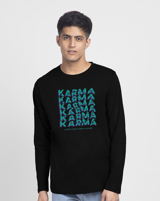 Shop Karma Comes Around Full Sleeve T-Shirt Black-Front