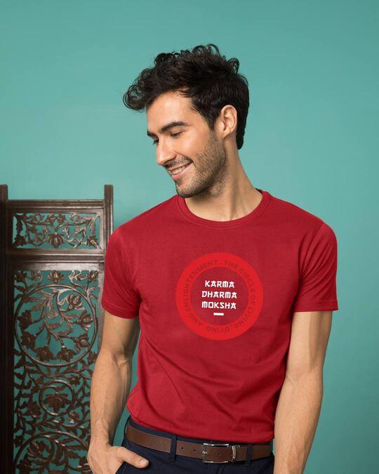 Shop Karma Dharma Moksha Half Sleeve T-Shirt Bold Red-Front