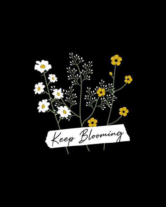 Shop Keep Blooming Flowers Boyfriend T-Shirt Black-Full