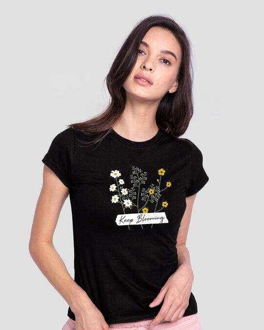 Shop Keep Blooming Flowers Half Sleeve T-Shirt Black-Front