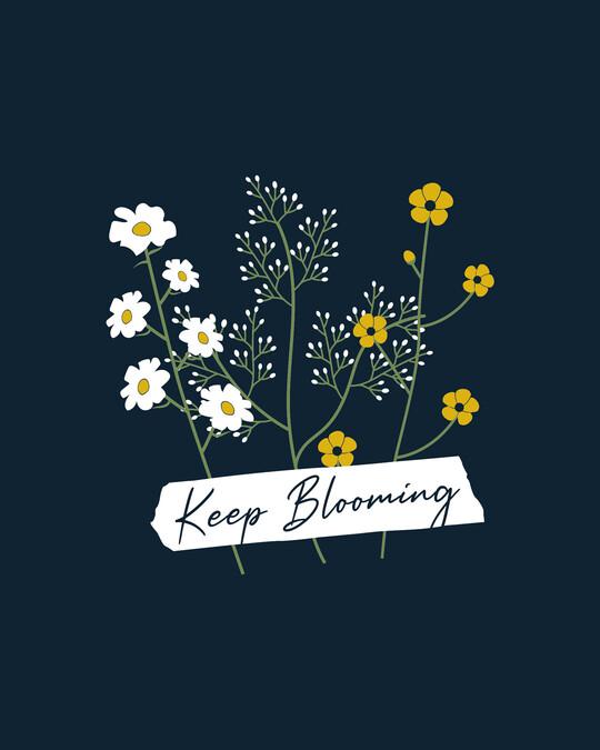 Shop Keep Blooming Flowers Half Sleeve T-Shirt Navy Blue