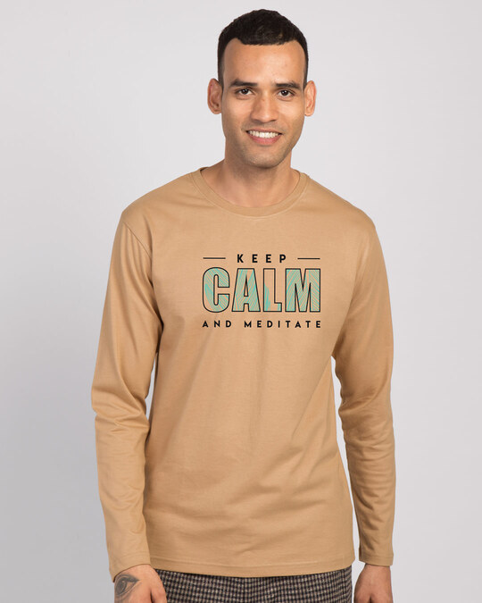Shop Keep Calm And Meditate Full Sleeve T-Shirt Pastel Beige-Back