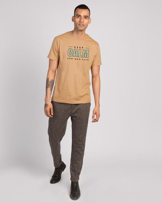 Shop Keep Calm And Meditate Half Sleeve T-Shirt - Dusty Beige-Design
