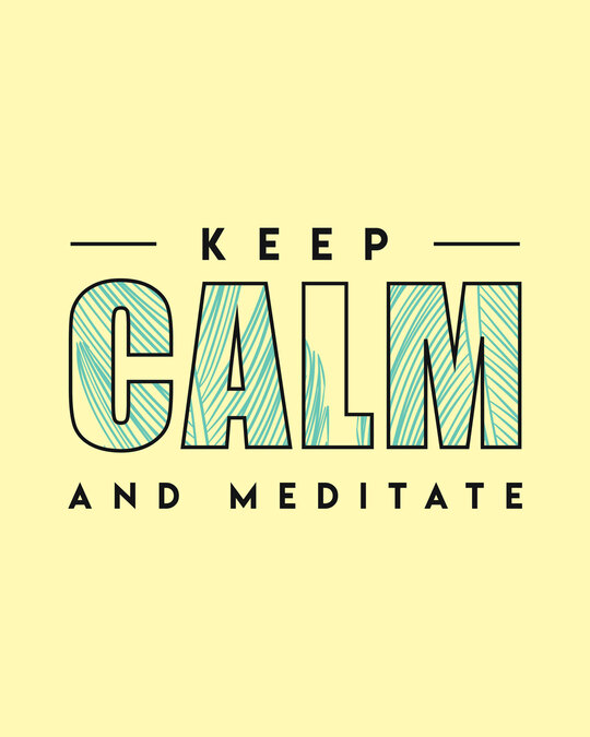 Shop Keep Calm And Meditate Half Sleeve T-Shirt-Pastel Yellow-Full