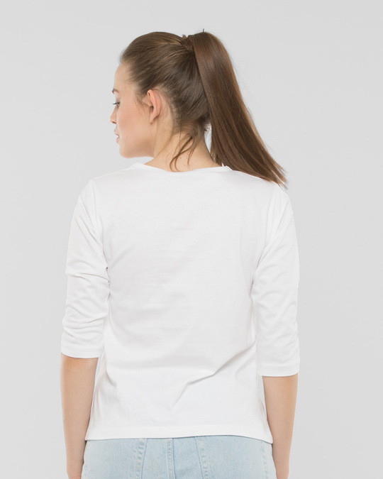 Shop Keep It Easy Round Neck 3/4th Sleeve T-Shirt White-Back