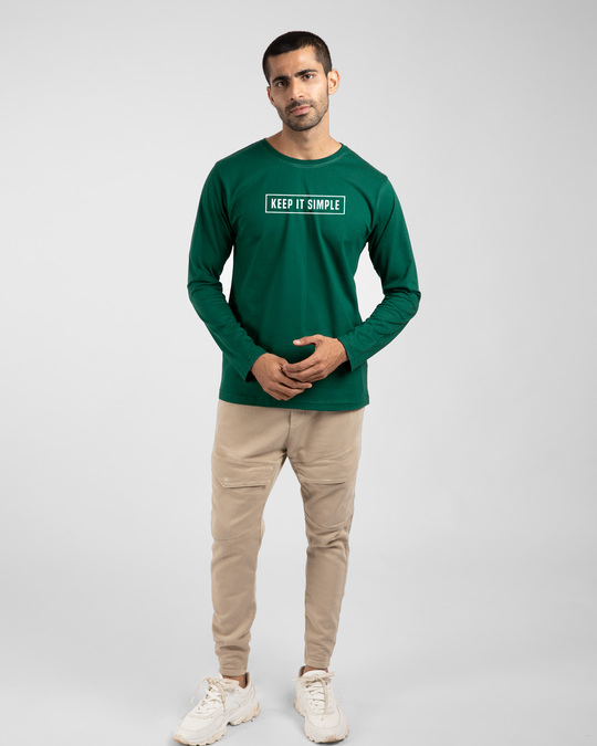 Shop Keep It Simple Full Sleeve T-Shirt Forest Green-Full