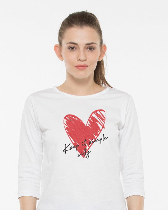Shop Keep It Simple Silly Round Neck 3/4th Sleeve T-Shirt-Front