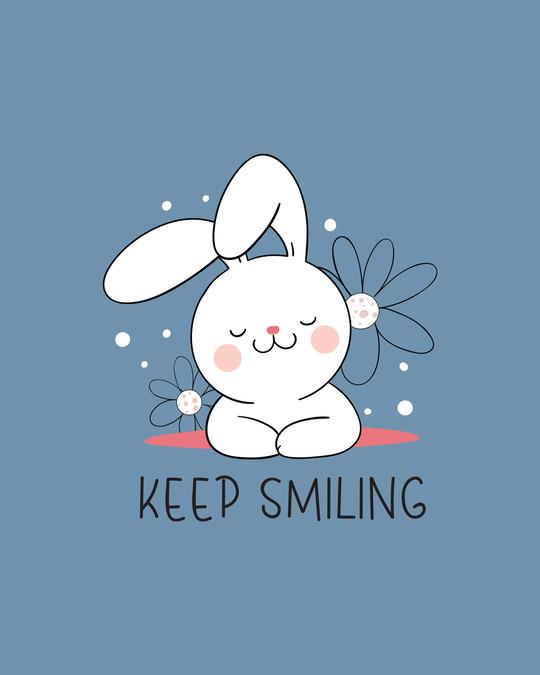 Shop Keep Smiling Scoop Neck Full Sleeve T-Shirt Island Blue-Full