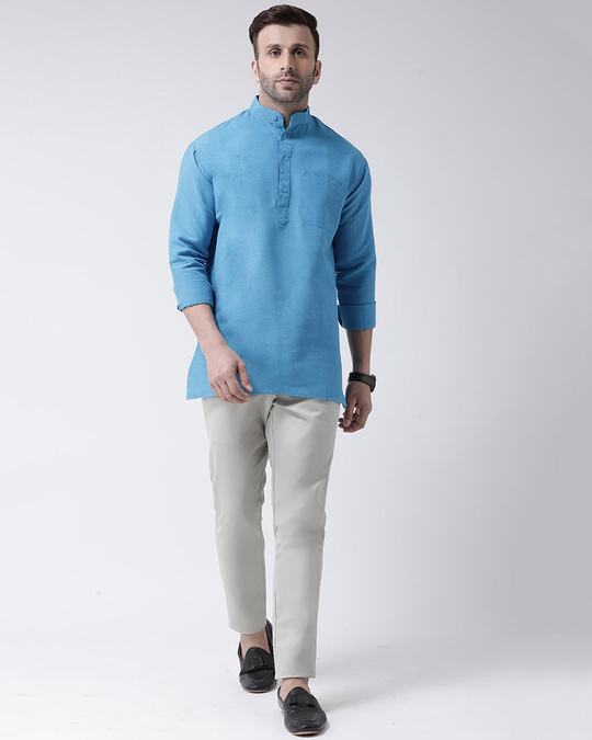 Shop Mens Pure Cotton Solid Short Kurta In Full Sleeve-Front