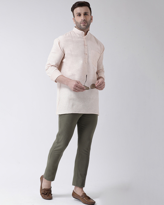 Shop Men's Pure Cotton Solid Short Kurta In Full Sleeve-Front
