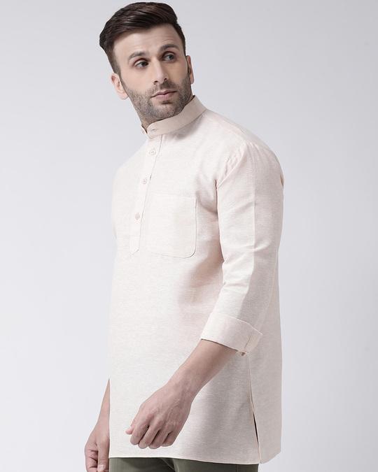 Shop Men's Pure Cotton Solid Short Kurta In Full Sleeve-Back